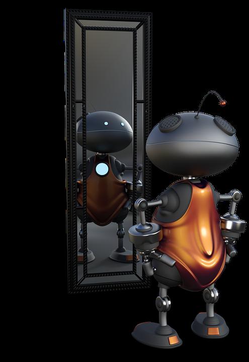 robot mirándose al espejo